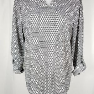 Notch neck Tunic w/ roll up tab sleeves